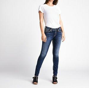 Silver Suki Dark Wash Thick Stitch Skinny Jeans